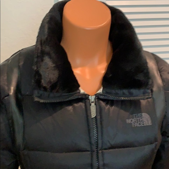 The North Face Blk faux leather & fur neck & cuffs